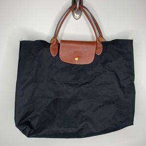 Longchamp Black Les Pilages Cabas Tote